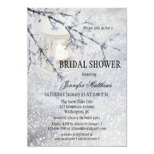 lantern snow winter bridal shower invitation