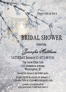 lantern snow winter bridal shower invitation