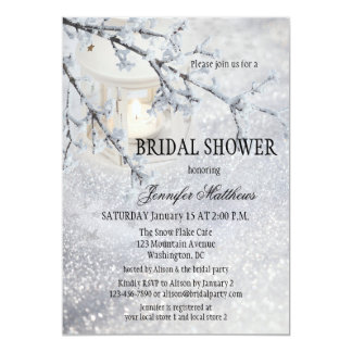 Snow bridal shower gifts on zazzle lantern snow winter bridal shower invitation filmwisefo Choice Image