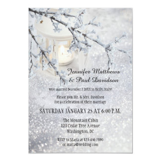 Lantern Snow Winter Post Wedding Party Invitation