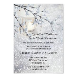 Lantern Snow Winter Post Wedding Party Invitation