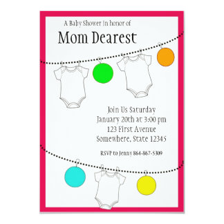 Lanterns and clothesline Baby Shower Personalized Invites
