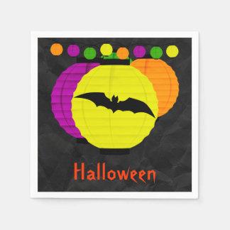 Lanterns & Black Bat Halloween Serviettes Napkin