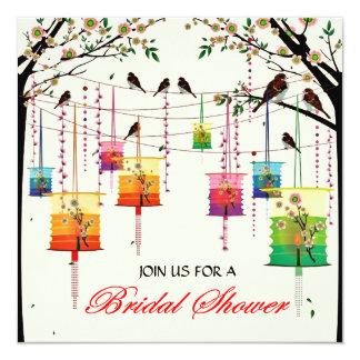 Lanterns Cherry Tree Birds Spring Bridal Shower 5.25x5.25 Square Paper Invitation Card