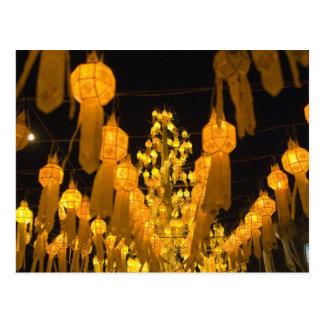 Lanterns for Loi Krathong festival. Postcard