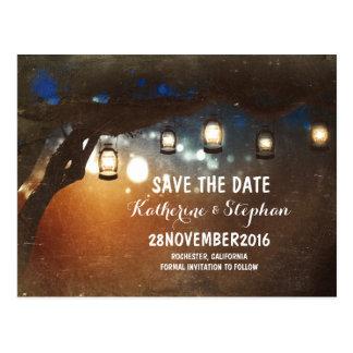 lanterns lights tree rustic save the date postcard