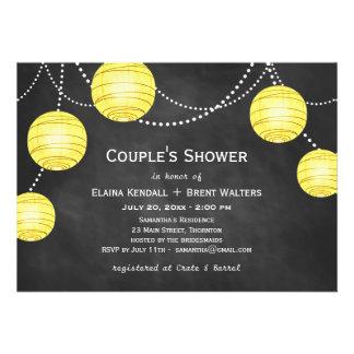 Lanterns on Chalk Couple's Shower Invite in Yellow