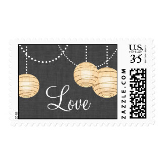 Lanterns on Gray Burlap Love Stamp