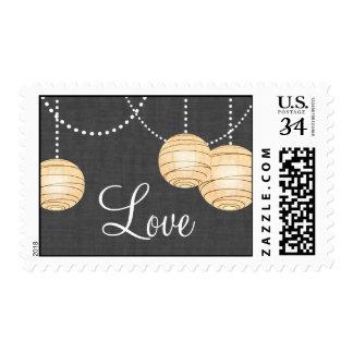 Lanterns on Gray Burlap Love Stamp