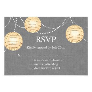 Lanterns on Gray Burlap RSVP Personalized Invite
