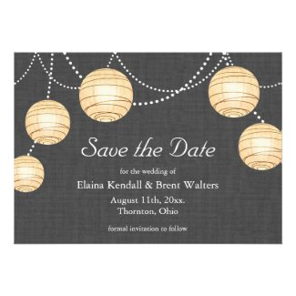 Lanterns on Gray Burlap Save the Date
