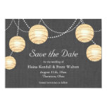 Lanterns on Gray Burlap Save the Date Invites