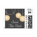 Lanterns on Gray Burlap Save the Date Stamp