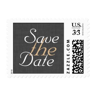 Lanterns on Gray Burlap Save the Date Stamp 2