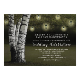 Lanterns   Rustic Birch Tree Wedding Invitations
