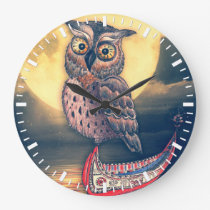 Lanyu Scops Owl with Traditional Canoe Large Clock