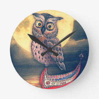 Lanyu Scops Owl with Traditional Canoe Round Clock
