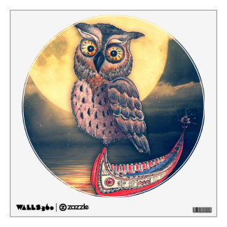 Lanyu Scops Owl with Traditional Canoe Wall Decal