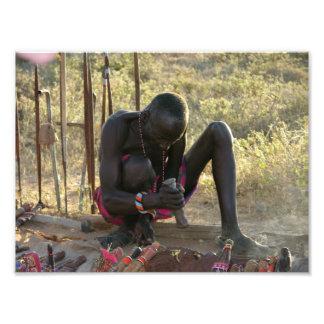 Lanza de Massai y herrero del cuchillo Cojinete