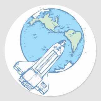 Lanzadera en órbita etiqueta redonda