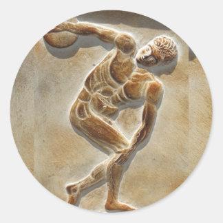 Lanzador de disco del griego clásico - discóbolo pegatinas redondas