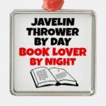 Lanzador de jabalina del aficionado a los libros ornamento de navidad