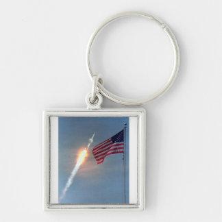 Lanzamiento de Apolo 11, con la bandera, NASA Llavero Cuadrado Plateado