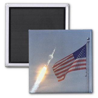 Lanzamiento de Apolo 11 Imán Cuadrado