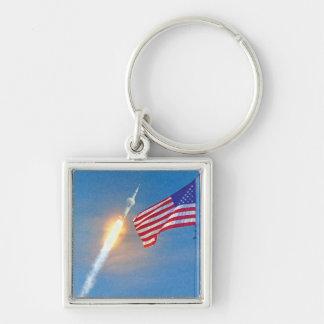 Lanzamiento de Apolo 11 Llavero Cuadrado Plateado