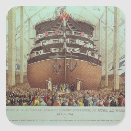 Lanzamiento de H.M.S. Royal Albert, vapor del Calcomanías Cuadradass Personalizadas