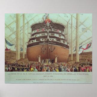 Lanzamiento de H.M.S. Royal Albert, vapor del torn Póster