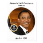 Lanzamiento de la campaña de presidente Obama 2012 Postal