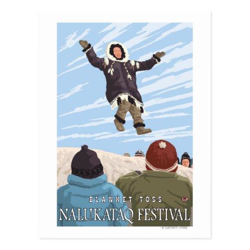 Lanzamiento de la manta de Alaska - festival de Postal
