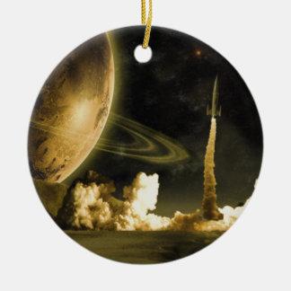 Lanzamiento de Rocket del vintage Adorno Redondo De Cerámica