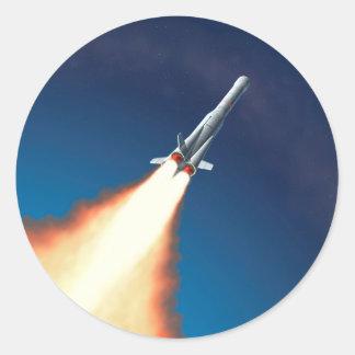 Lanzamiento de Rocket Pegatina Redonda
