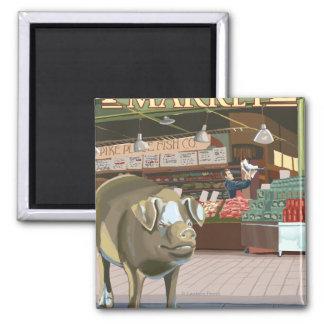 Lanzamiento de SeattleFish y cerdo del bronce en e Imán Cuadrado