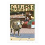 Lanzamiento de SeattleFish y cerdo del bronce en e Tarjetas Postales