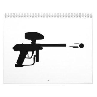 Lanzamiento del arma de Paintball Calendarios