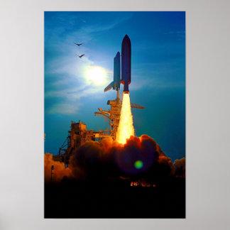 Lanzamiento del descubrimiento del transbordador e posters