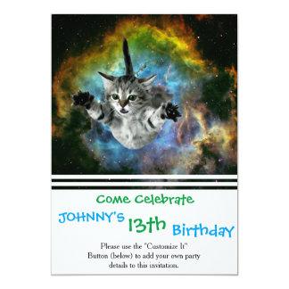 """Lanzamiento del gatito del universo del gato de la invitación 5"""" x 7"""""""
