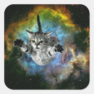Lanzamiento del gatito del universo del gato de la pegatina cuadrada
