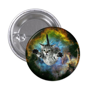 Lanzamiento del gatito del universo del gato de la pin redondo de 1 pulgada