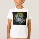 Lanzamiento del gatito del universo del gato de la poleras
