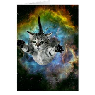 Lanzamiento del gatito del universo del gato de la tarjeta pequeña