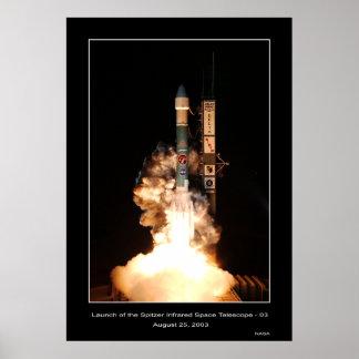 Lanzamiento del telescopio espacial del infrarrojo póster