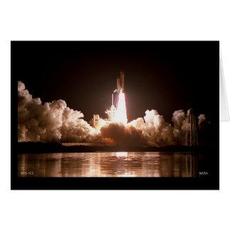Lanzamiento del transbordador espacial de la noche tarjeta de felicitación
