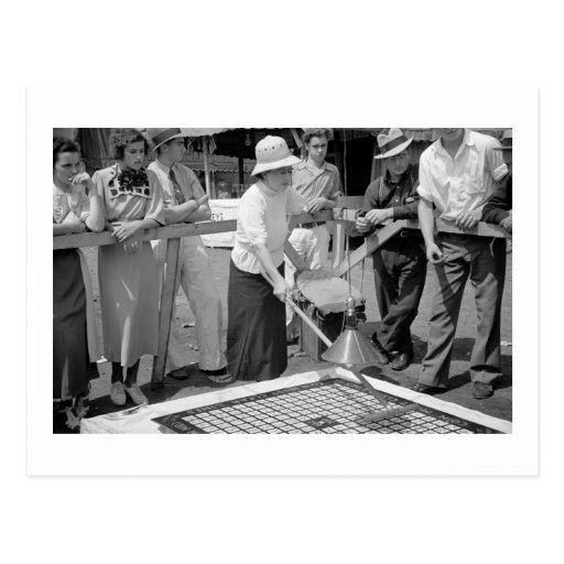 Lanzamiento en la feria, los años 30 de la moneda tarjeta postal