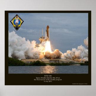 Lanzamiento final STS-135 la Atlántida del transbo Póster