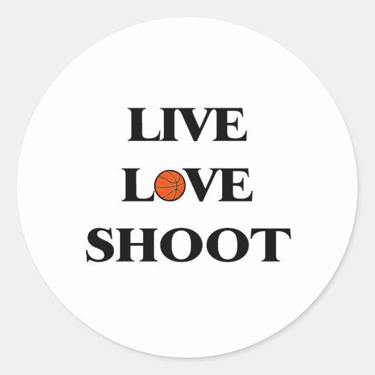 Lanzamiento vivo del amor (baloncesto) pegatina redonda