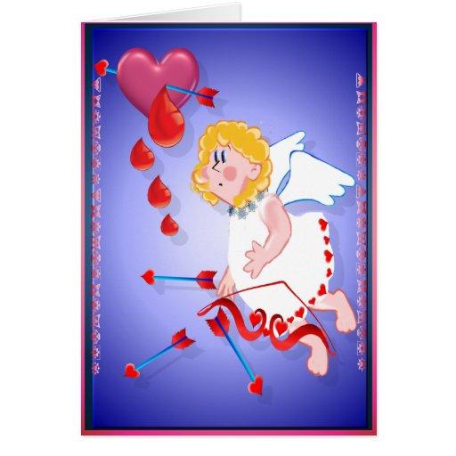 Lanzamientos del Cupid para el corazón Tarjeta